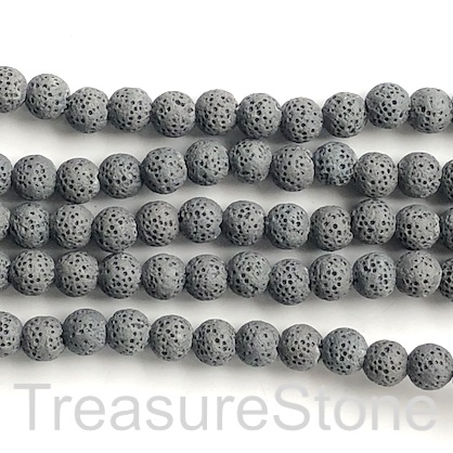 Bead, dark grey lava (dyed), 8mm round. 15.5-inch, 48pcs