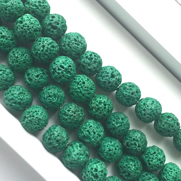 Bead, emerald green lava, dyed, about 8mm round. 15.5inch, 48pcs