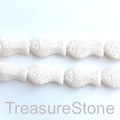 Bead, lava, 20x36mm fish, white. pack of 11