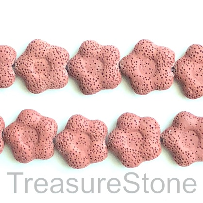 Bead, lava, 28mm flower, brick red. pack of 15