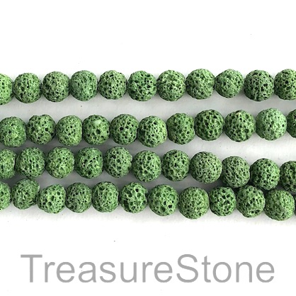Bead, green lava, dyed, about 8mm round. 15inch, 46pcs