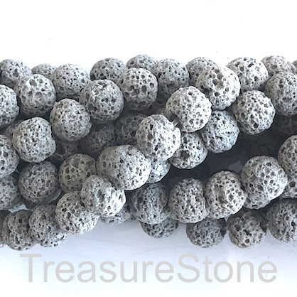Bead, grey lava (dyed), 8mm round. 15.5-inch, 50pcs