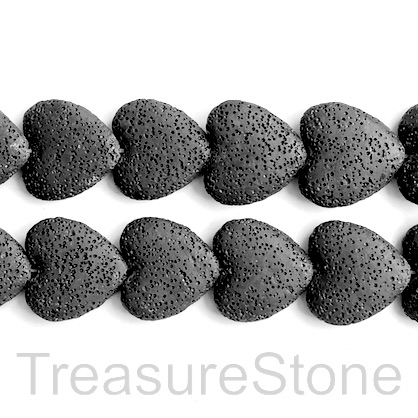 Bead, black lava, 20mm heart. pack of 20