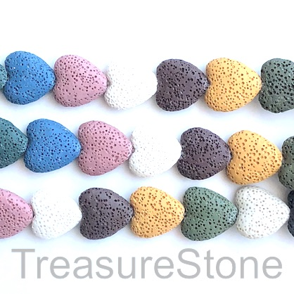 Bead, lava, 20mm heart, mixed color. pack of 20