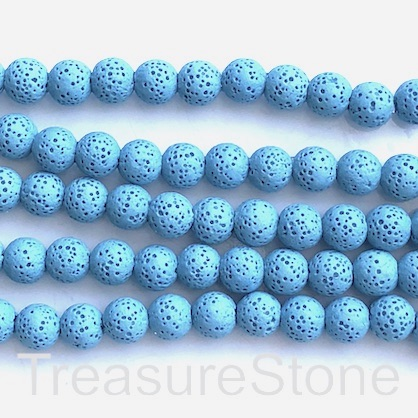 Bead, light blue lava (dyed), about 8mm round. 15.5-inch, 50pcs