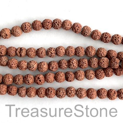 Bead, light brown lava (dyed), 8mm round. 15.5-inch, 48pcs
