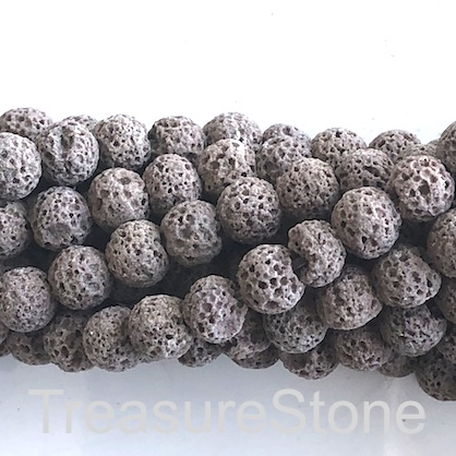 Bead, light brown lava (dyed), 8mm round. 15-inch, 49pcs