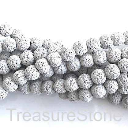 Bead, light grey lava (dyed), 8mm round. 15.5-inch, 49pcs