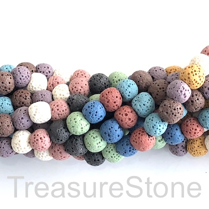 "Bead, mixed colour lava (dyed), about 13mm round. 15"", 33pcs"