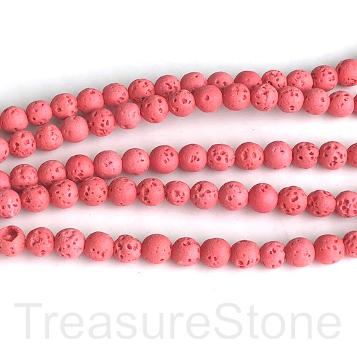 Bead, lava, neon red, 6mm round. 15-inch, 62pcs