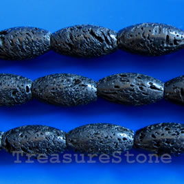 Bead, black Lava, 15x27mm oval, 16-inch strand.