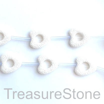 Bead, lava, 30mm open heart, white. pack of 8