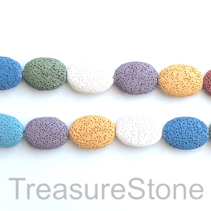 Bead, Lava, 20x28mm oval, mixed colours. 16-inch, 15pcs