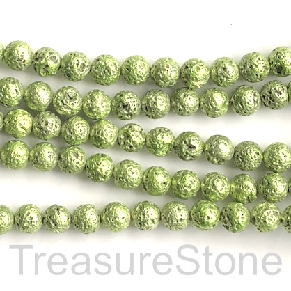 Bead, light green plated lava, 8mm round. 15-inch, 46pcs
