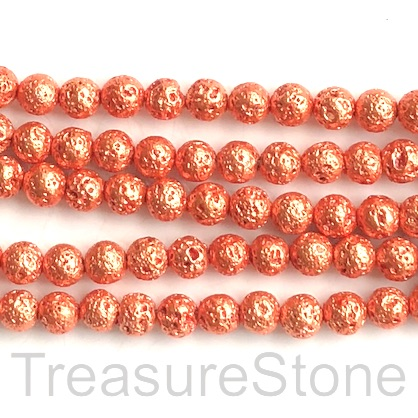 Bead, orange plated lava, 8mm round. 15-inch, 46pcs