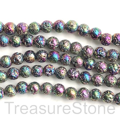 Bead, rainbow plated lava, 8mm round. 15-inch, 46pcs