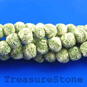 Bead, cream green lava (dyed), about 10mm round. 15.5-inch
