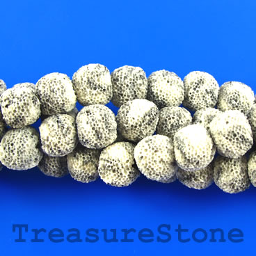 Bead, cream grey lava (dyed), about 10mm round. 15.5-inch