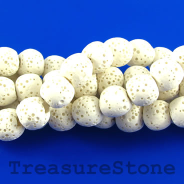 Bead, white lava (bleached), about 8mm round. 16-inch, 50pcs