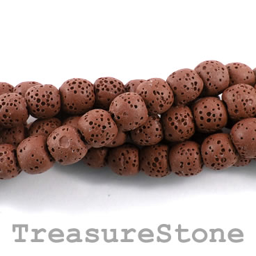 Bead, brown lava (dyed), about 8mm round. 15.5-inch strand