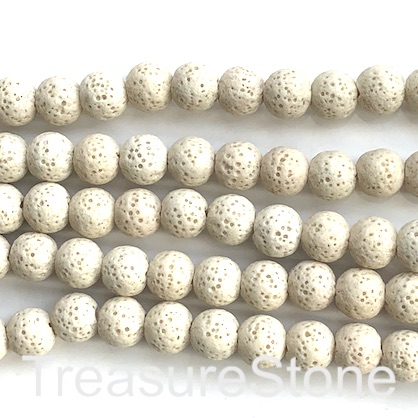 Bead, cream lava (dyed), about 8mm round. 15.5-inch strand