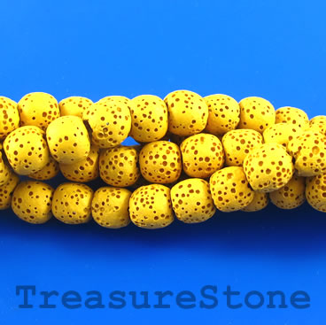 Bead, mustard lava (dyed), about 8mm round. 15.5-inch strand