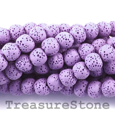 Bead, purple lava (dyed), about 8mm round. 15.5-inch strand