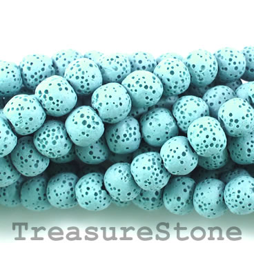 Bead, turquoise lava (dyed), about 8mm round. 15.5-inch strand