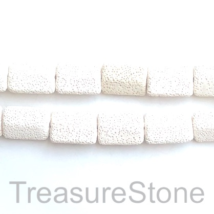 Bead, lava, 20x28mm shaped rectangle, white. pack of 14