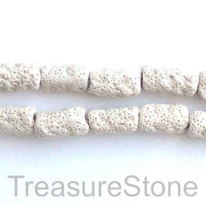 Bead, lava, 12x20 shaped tube, beige. pack of 20