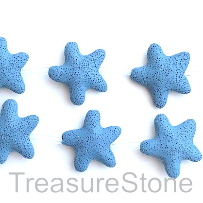 Bead, lava, 45mm star, blue. pack of 8