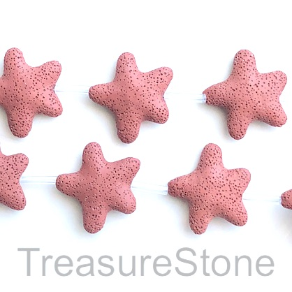 Bead, lava, 45mm star, brick red. pack of 8