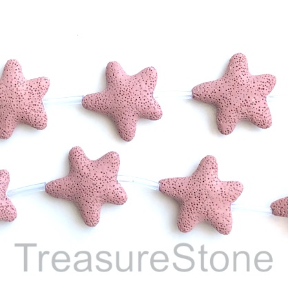 Bead, lava, 45mm star, dusty pink. pack of 8
