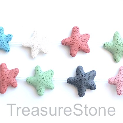 Bead, lava, 45mm star, mixed colours. pack of 8