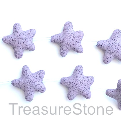 Bead, lava, 45mm star, purple. pack of 8