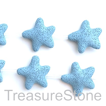Bead, lava, 45mm star, turquoise, tilt blue. pack of 8