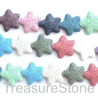 Bead, lava, 25mm star, mixed colours. pack of 18