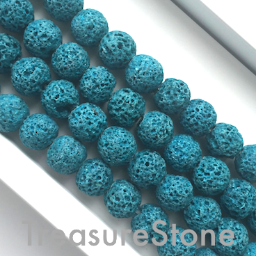 Bead, tilt blue lava, dyed, about 8mm round. 15.5 inch, 50p