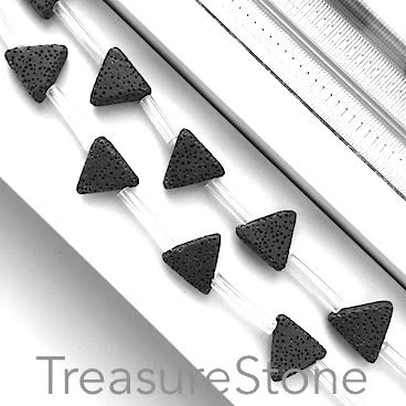 Bead, black Lava, 17mm top-drilled triangle. 12pcs.