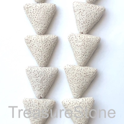 Bead, lava, 26mm triangle, beige. pack of 15