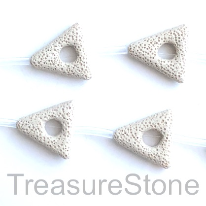 Bead, lava, 30mm triangle frame, beige. pack of 8