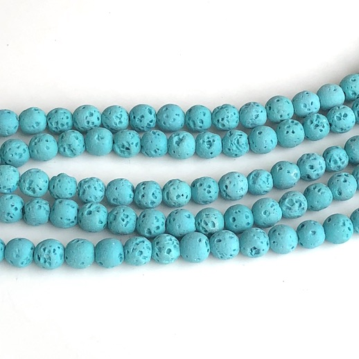 Bead, lava, turquoise, 6mm round. 15-inch, 62pcs