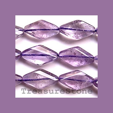 Bead, amethyst, 12x20mm hand-cut faceted diamond. 16-inch