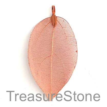 Pendant, rose gold brass leaf, about 60mm long. Each.