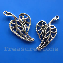 Pendant/charm, silver-finished, 23x30mm filigree leaf. Pkg of 6.