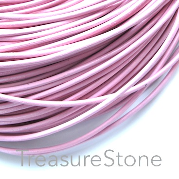 Cord, leather, baby pink, 2mm. Sold per 2-meter section