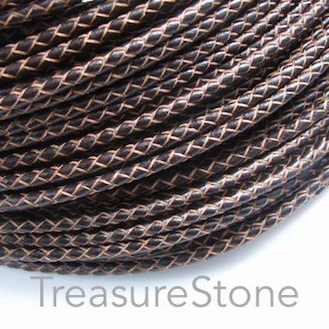 Cord, leather, braided round, brown, 3mm. 1 meter