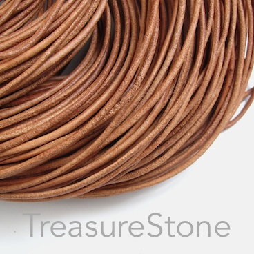 Cord, leather, brown, matt, 2mm. Sold per 2-meter section