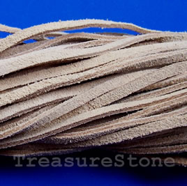 Cord, leather, brown,suede look, 3mmx36 inch, three strands pack