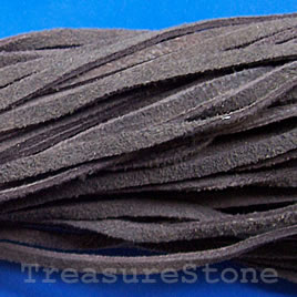 Cord, leather, suede look, dark brown,3mmx36 inch, three strands